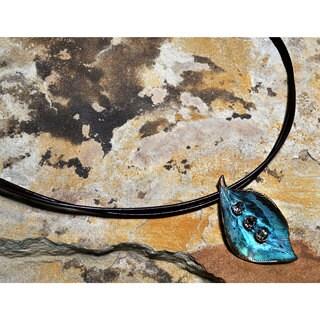 Verdigris Patina Brass Detailed Sculptural Leaf Pendant - Crystals