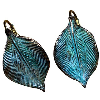 Handmade Patina Solid Brass Detailed Sculptural Leaf Earrings (USA)