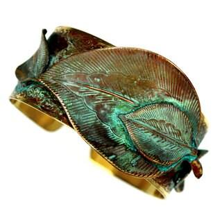 Handmade Verdigris Patina Brass Detailed Sculptural Leaves Cuff by Elaine Coyne (USA)