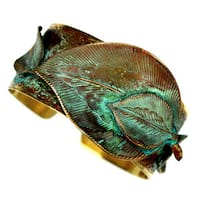 Handmade Verdigris Patina Brass Detailed Sculptural Leaves Cuff by Elaine Coyne (USA)