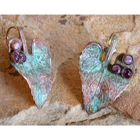 Handmade Patina Leaf Earrings - Amethyst and Charoite (USA) - multi