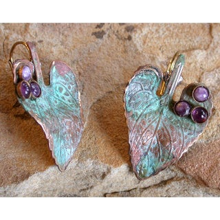 Handmade Verdigris Patina Solid Brass Leaf Earrings with Amethyst and Charoite by Elaine Coyne (USA)