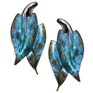 Handmade Verdigris Patina Solid Brass Contemporary Double Leaf Earrings by Elaine Coyne (USA)