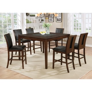 Furniture of America Gileon Walnut Wood and Faux Leather 7-piece Transitional Counter-height Dining Set