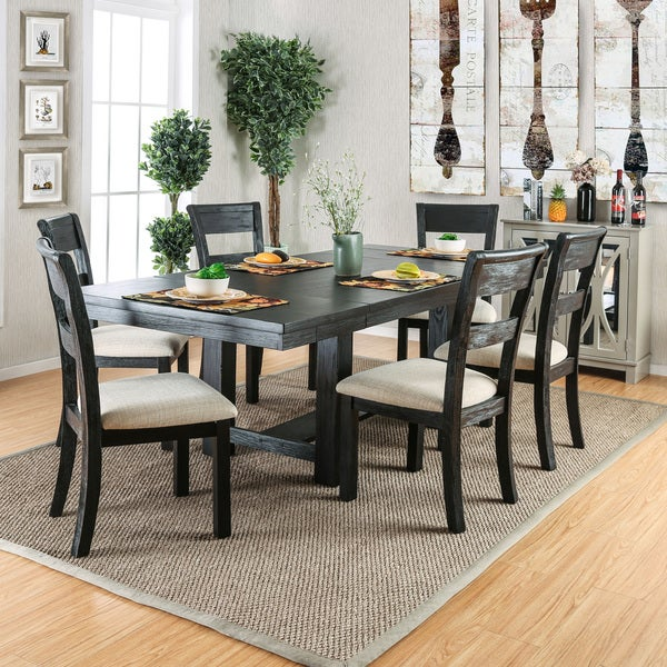 Furniture Of America Denley Rustic 7 Piece Brushed Black Dining Set