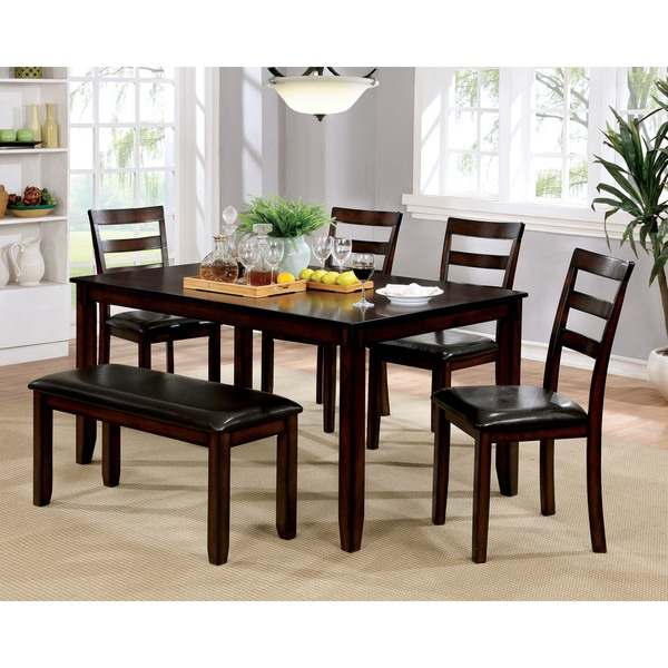 Furniture of America Seralin Contemporary 6-piece Faux Leather Brown Cherry Dining Set. Opens flyout.