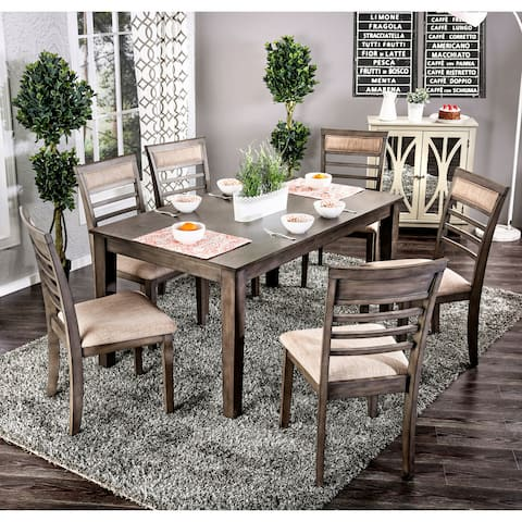 Furniture of America Keso Rustic Solid Wood 7-piece Dining Set