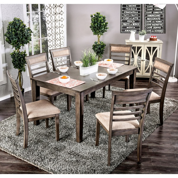 Nice Furniture Of America Yevana Contemporary 7 Piece Wooden Dining Set