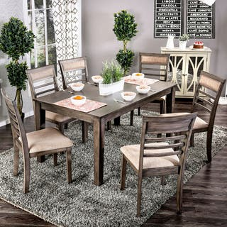 Furniture Of America Yevana Contemporary 7 Piece Wooden Dining Set 2 Options Available