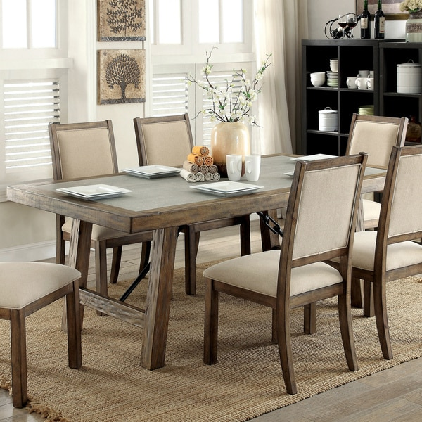 Furniture of America Bailey Rustic Weathered Elm Stone Top 78-inch Dining Table - Oak