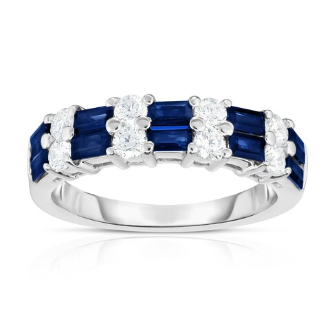 Noray Designs 14K White Gold Blue Sapphire & Diamond (0.50 Ct, G-H Color, SI2-I1 Clarity) Ring - White G-H