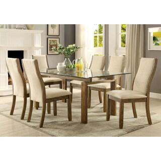 Furniture of America Lenea Contemporary 7-piece Oak Dining Set