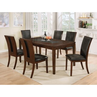 Furniture of America Gileon Walnut/ Espresso Wood Transitional 7-piece Dining Set