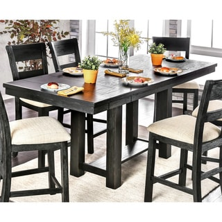 Furniture of America Denley Rustic Brushed Black 86-inch Counter Height Table with 12-inch Leaves