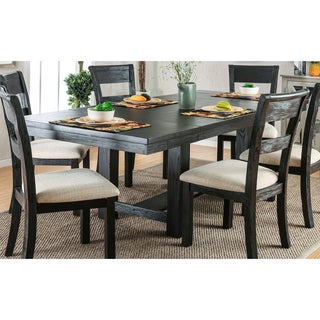 Furniture of America Denley Rustic Brushed Black 86-inch Dining Table with 12-inch Leaves