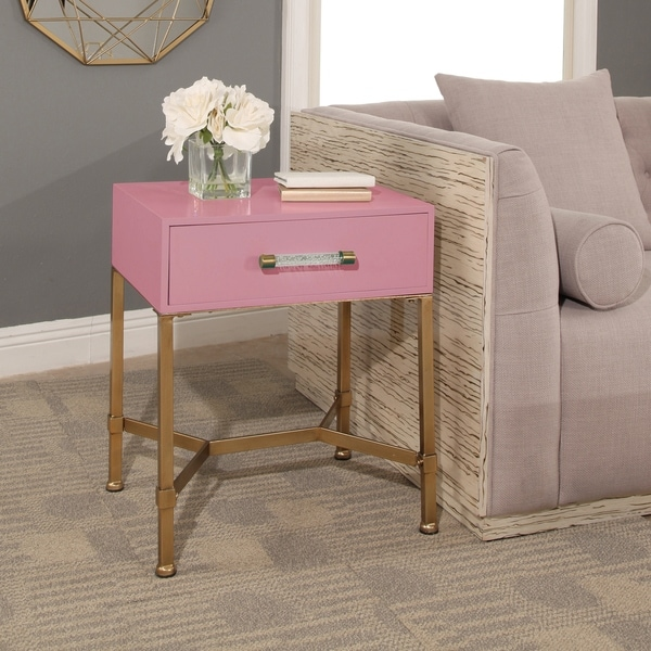 Abbyson Sophie Pink and Gold Iron End Table