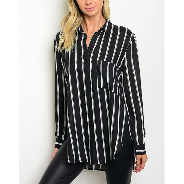 0cc0c066ca0 Shop JED Women's Black   White Striped Button Down Shirt - Free Shipping On  Orders Over  45 - Overstock - 17761812