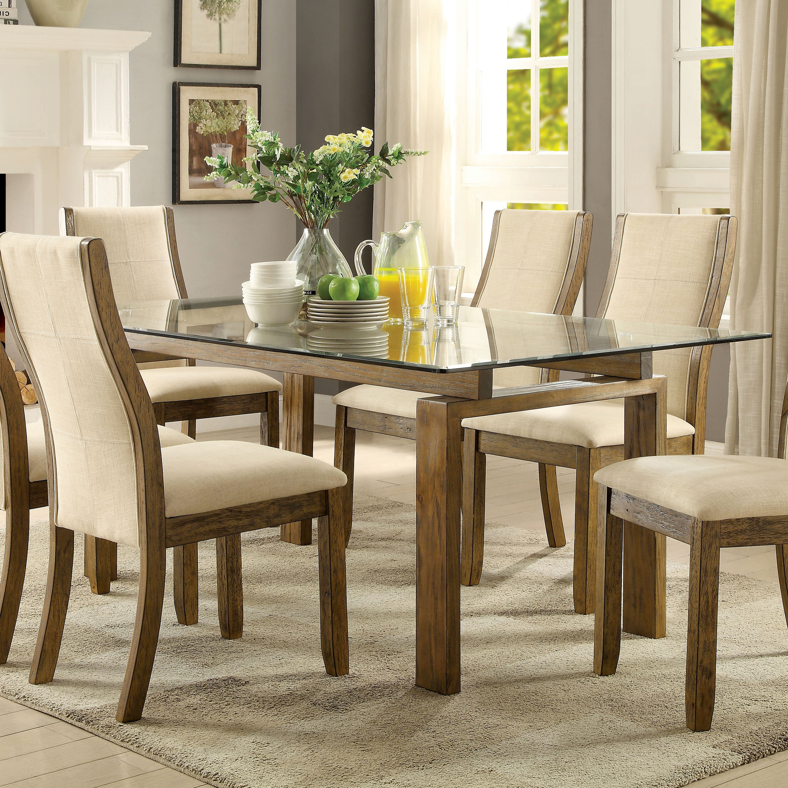 Lenea Contemporary Glass Top Oak Dining Table by FOA