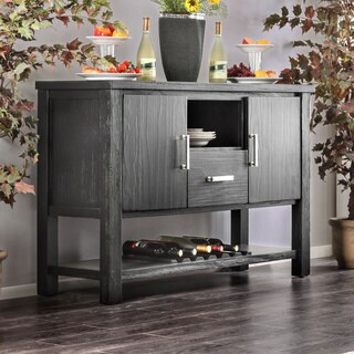 Furniture of America Denley Rustic Multi-Storage Brushed Black Dining Server