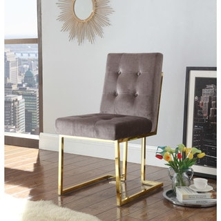 Chic Home Pierre Tufted Velvet Polished Brass Metal Frame Dining Side Chair