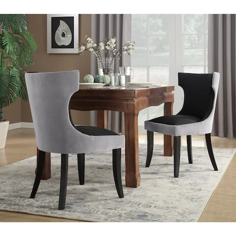 Chic Home Zeke 2-Piece Dining Side Chair in PU Leather Espresso Wood Frame