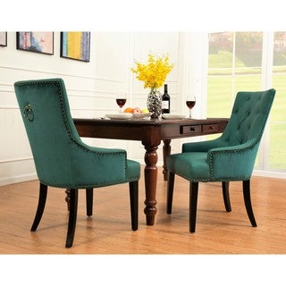 Chic Home Gilbert Dining Side Chair Tufted Faux Leather in Espresso Finished Wooden Legs (4 options available)