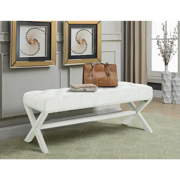 Chic Home Dianna Updated Neo Traditional Polished Nailhead Tufted Linen X Bench. Opens flyout.