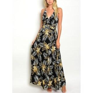 JED Women's Printed V-neck Maxi Dress