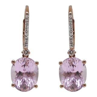 Kabella 14k Rose Gold Kunzite Oval & Round Diamonds Leverback Earrings - Pink