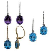 Kabella 14k Yellow or White Gold Blue Topaz or Amethyst with Diamond Earrings