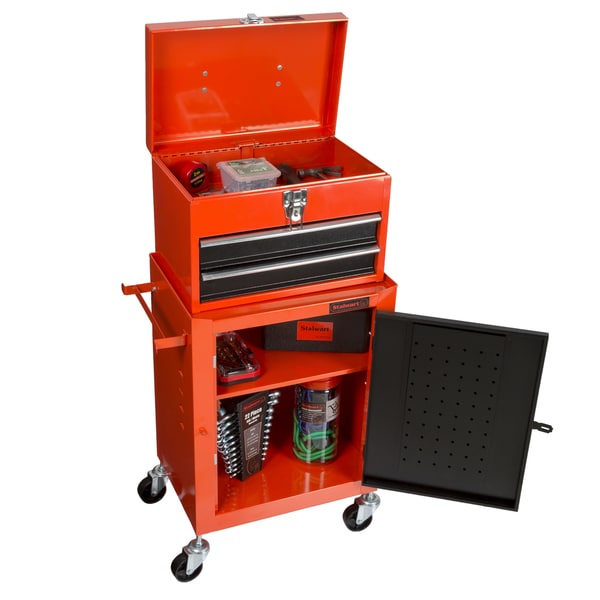 Shop Tool Chest With Rolling Cabinet 2 Pieces Wheels Red