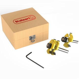 Tongue and Groove Router Bit Set With ½ Inch Shank and Wood Storage Box (2 Piece Kit) by Stalwart