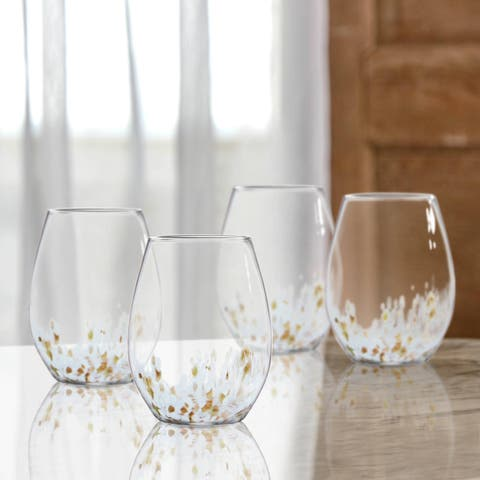 Hannah Gold Stemless 15 Ounce White Wine Goblets Set of 4