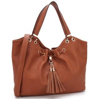 Dasein Faux Leather Drawstring Satchel Handbag with Fringe Tassel