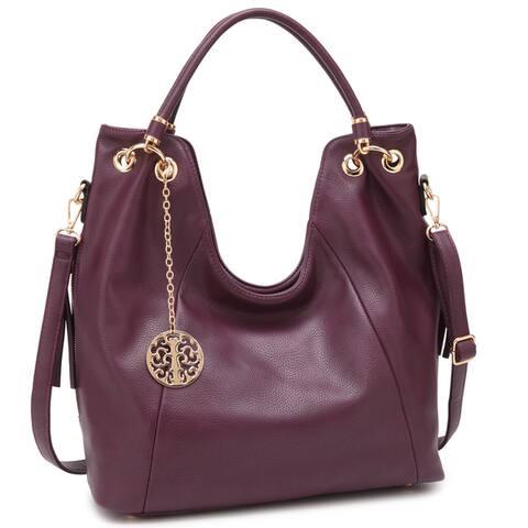 c6019fef81cf Dasein Soft Faux Leather Size Zipped Pocket Curvy Rolled Top Handle Hobo  Handbag
