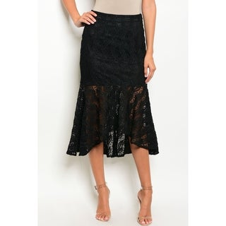 JED Women's Black Lace Short Mermaid Skirt