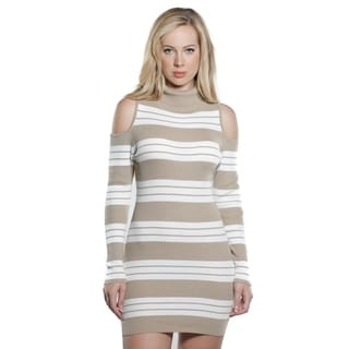 Special One Ladies Bodycon Stripes cold shoulder Rib Sweater Dress
