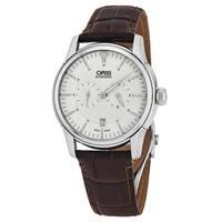 Oris Men's 749 7667 4051 LS 'Artelier' Silver Dial Brown Leather Strap Swiss Automatic Watch
