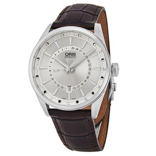 Oris Men's 761 7691 4051 LS 'Artix' Silver Dial Brown Leather Strap Moon Phase Swiss Automatic Watch