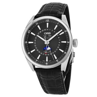 Oris Men's 915 7643 4034 LS 'Artix' Black Dial Black Leather Strap Day Date Moon phase Swiss Automatic Watch