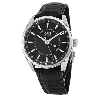 Oris Men's 761 7691 4054 LS 'Artix' Black Dial Black Leather Strap Moon Phase Swiss Automatic Watch