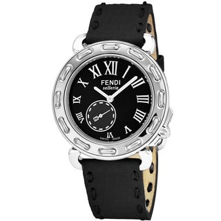 Fendi Women's F81031H.SSN01S 'Selleria' Black Dial Black Leather Strap Small Seconds Swiss Quartz Watch