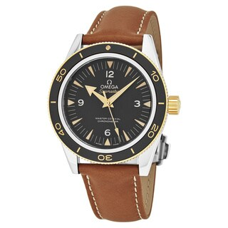 Omega Men's 233.22.41.21.01.001 'Seamaster 300' Black Dial Beige Leather Strap Co-Axial Ceragold Swiss Automatic Watch
