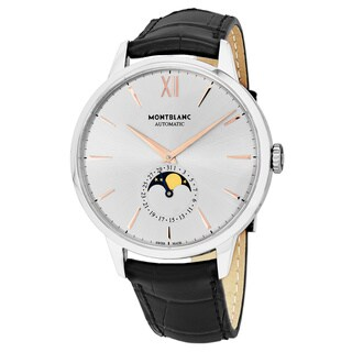 Mont Blanc Men's 'Heritage Sprit' Silver Dial Black Leather Strap Moon phase Swiss Automatic Watch