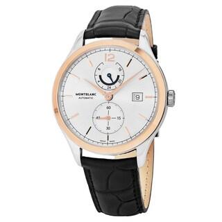 Mont Blanc Men's 'Heritage Chronometrie' Silver Dial Black Leather Strap GMT Swiss Automatic Watch