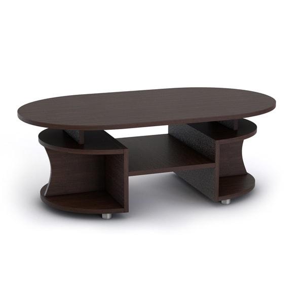 Bushwick Myrtle Modern Elliptical Multi Shelf Walnut Coffee Table Free Shipping Today Overstock Com 15811223