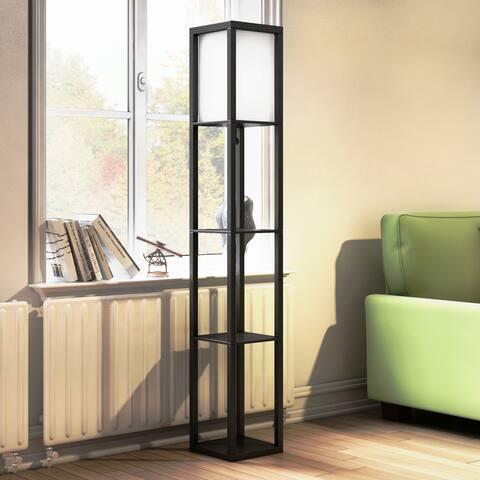 Porch & Den Victorine Floor Lamp Etagere Organizer Storage Shelf