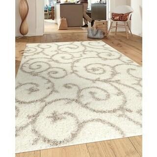 Porch & Den Marigny Decatur Cream White Indoor Shag Area Rug (5'3 x 7'3)