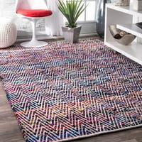 Porch & Den Williamsburg McGuinness Handmade Flatweave Magenta Chevron Cotton Rug - 7'6 x 9'6