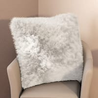 Porch & Den Greenpoint Morgan White Faux Fur 22-inch Throw Pillow